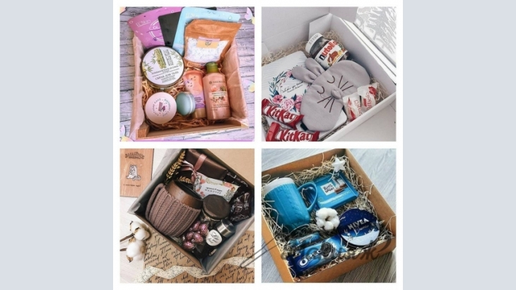 Collect and make various gift sets in a carton for the holiday